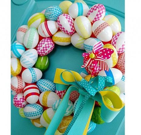 huevos-para-pascua-manualidades-cinta-papel-de-regalo-decoracion-decorar-puertas-paredes-rapido-facil-barato-ahorro
