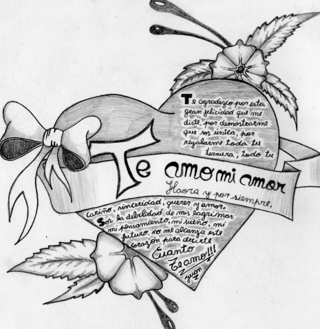 Graffitis de corazones chidos de amor a lápiz  Imágenes para descargar