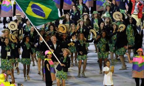 juegosinauguracionBrasil fue la última delegación en salir y se destacó por la euforía y la ovación del público presente