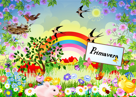 Easter background with chocolate eggs, birds and a rainbow