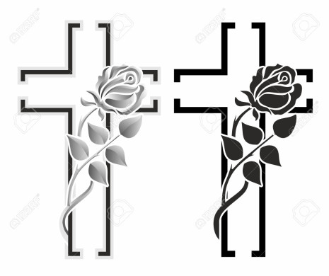 set with two grave crosses with winding rose