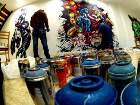 comicspintando graffitis