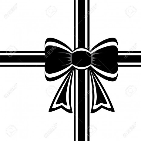 lazo8424553-vector-black-ribbon-with-bow-on-white-Stock-Vector