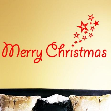 navidad2016-rojo-feliz-palabras-feliz-navidad-estrellas-festival-fiesta-familiar-decoración-etiqueta-de-la-pared-decoración
