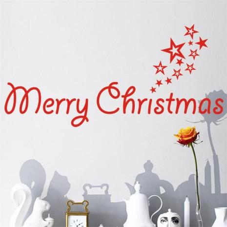 navidadww2016-rojo-feliz-palabras-feliz-navidad-estrellas-festival-fiesta-familiar-decoración-etiqueta-de-la-pared-decoración