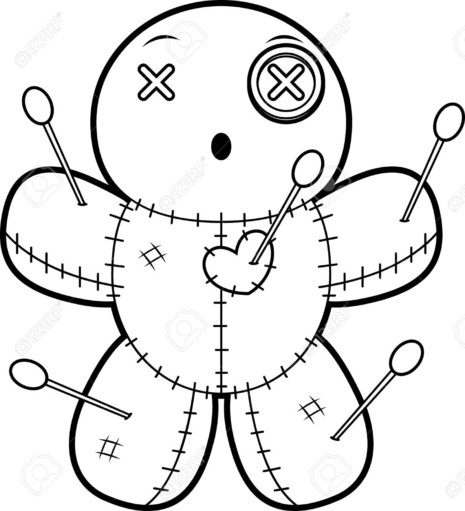 A cartoon illustration of a voodoo doll looking surprised.
