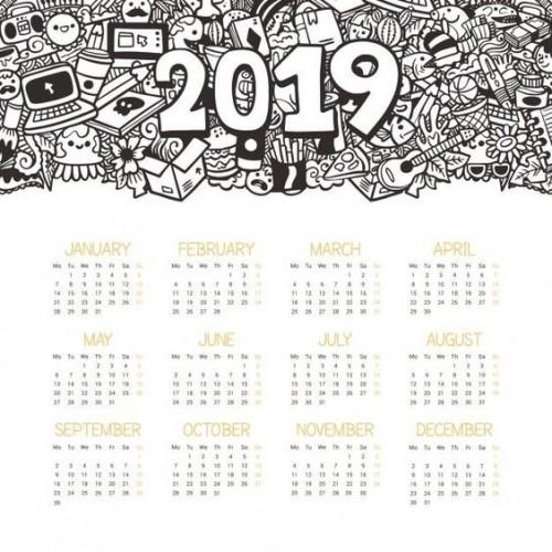 Calendario 2019 Para Colorear.Calendarios 2019 Originales Imagenes Para Whatsapp